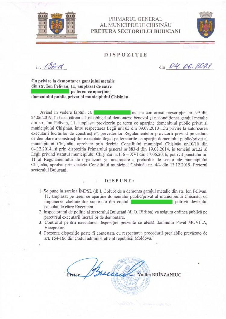 Dispoziție nr 156-d din 04.06.2021 cu privire la demontarea garajului metalic din str. I. Pelivan, 11, amplasat  pe teren ce aparține domeniului public privat al mun. Chișinău