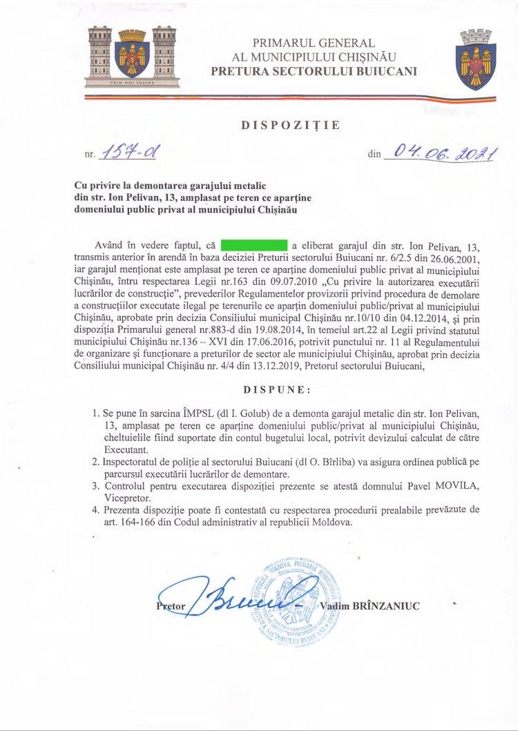 Dispoziție nr 157-d din 04.06.2021 cu privire la demontarea garajului metalic din str. I. Pelivan, 13, amplasat pe teren ce aparține domeniului public privat al mun. Chișinău