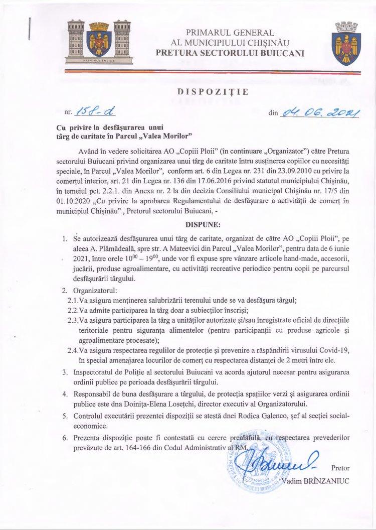 """Dispoziție nr 158-d din 04.06.2021 cu privire la desfășurarea unui târg de caritate în Parcul """"Valea Morilor"""""""