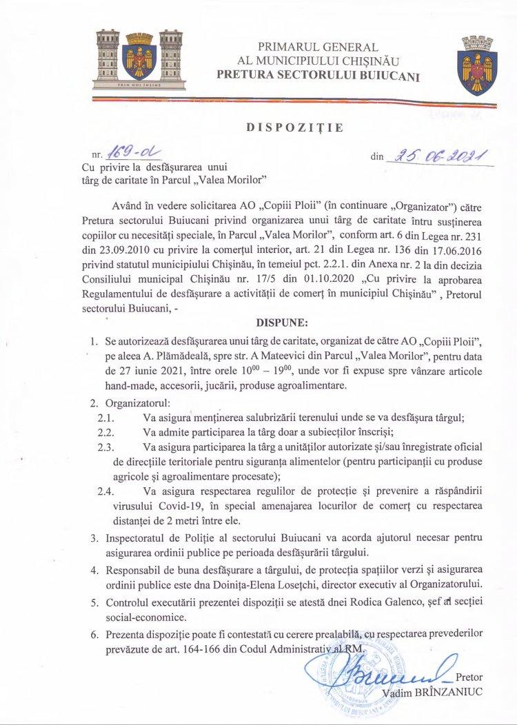 """Dispoziţie nr 169-d din 25.06.2021 cu privire la desfăşurarea unui târg de caritate în Parcul """"Valea Morilor"""""""