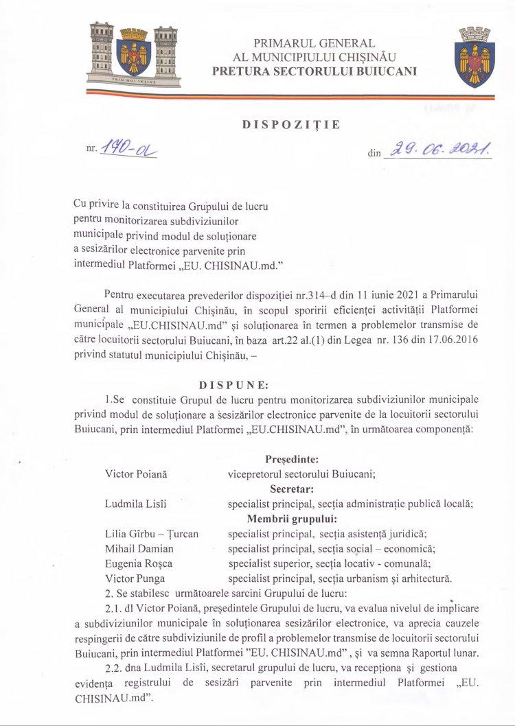 """Dispoziţie nr 170-d din 29.06.2021 cu privire la constituirea Grupului de lucru pentru monitorizarea subdiviziunilor municipale privind modul de soluţionare a sesizarilor electronice parvenite prin intermediul Platformei """"EU.CHISINAU.md"""""""