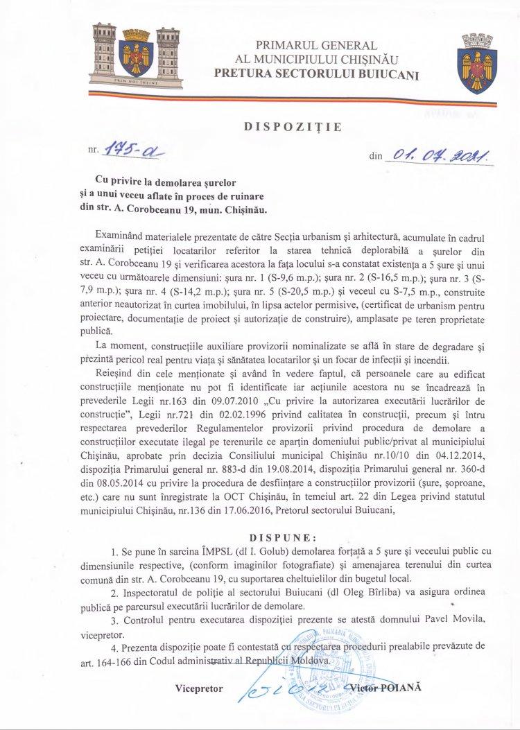 Dispoziţie nr 175-d din 01.07.2021 cu privire la demolarea şurelor şi a unui veceu aflate în proces de ruinare din str. A. Corobceanu 19, mun. Chişinău