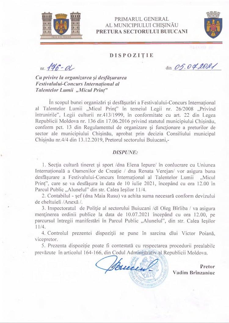 """Dispoziție nr 176-d din 05.07.2021 cu privire la organizarea şi desfăşurarea Festivalului-Concurs Internaţional al Talentelor Lumii """"Micul Prinţ"""""""