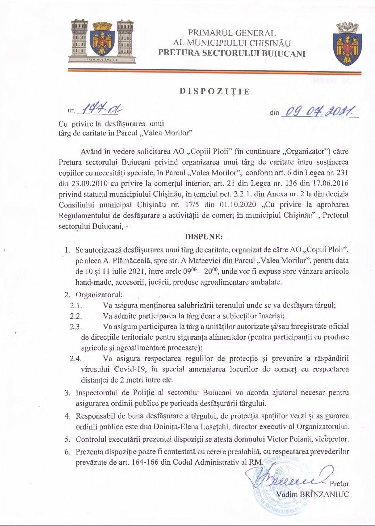"""Dispoziție nr 177-d din 09.07.2021 cu privire la desfăşurarea unui târg de caritate în Parcul """"Valea Morilor"""""""