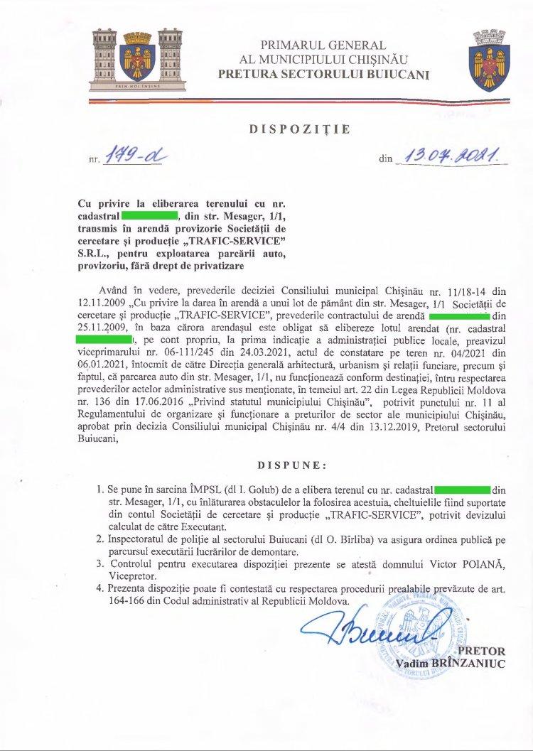 """Dispoziție nr 179-d din 13.07.2021 cu privire la eliberarea terenului din str. Mesager, 1/1, transmis în arenda provizorie Societății de cercetare și producție """"TRAFIC-SERVICE"""" SRL, pentru exploatarea parcării auto, provizoriu, fără drept de privatizare"""