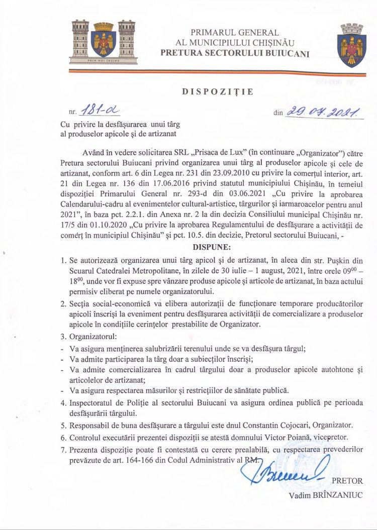 Dispoziție nr 181-d din 29.07.2021 cu privire la desfășurarea unui târg al produselor apicole și de artizanat