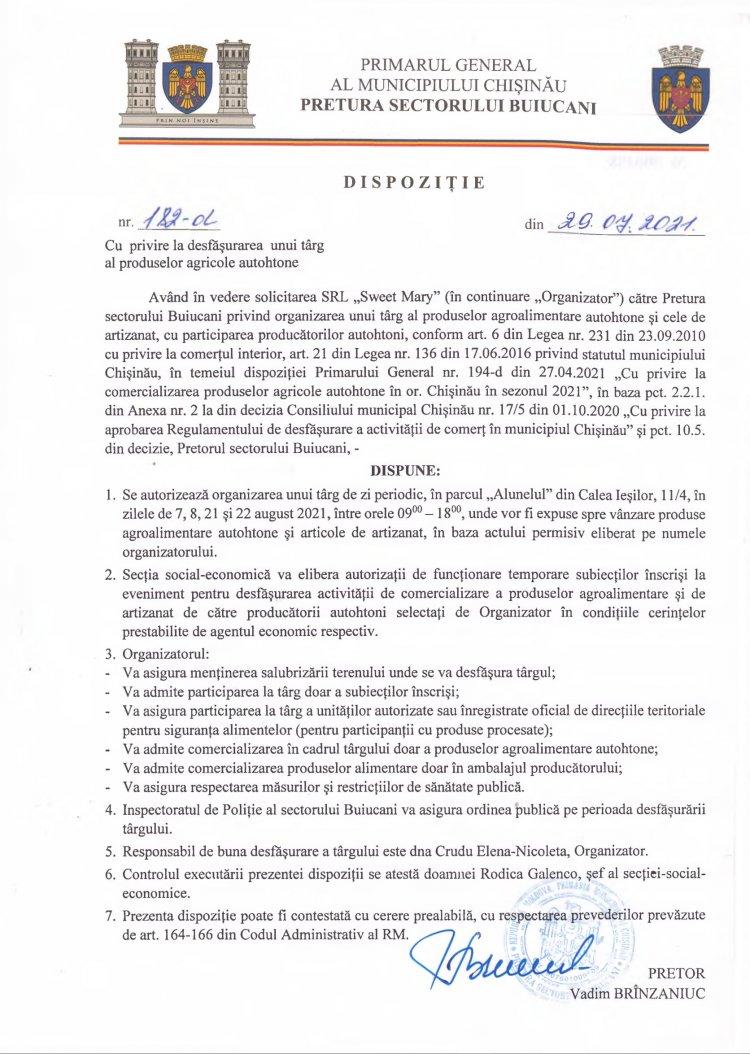 Dispoziție nr 182-d din 29.07.2021 cu privire la desfășurarea unui târg al produselor agricole autohtone