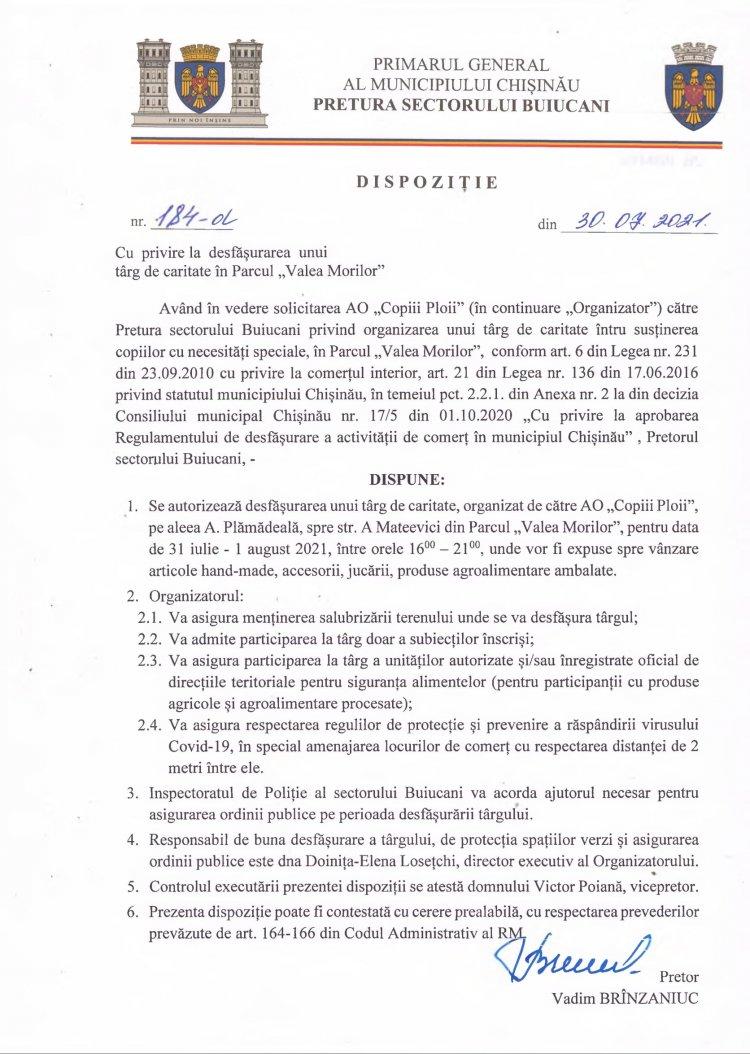 """Dispoziție nr 184-d din 30.07.2021 cu privire la desfășurarea unui târg de caritate în Parcul """"Valea Morilor"""""""