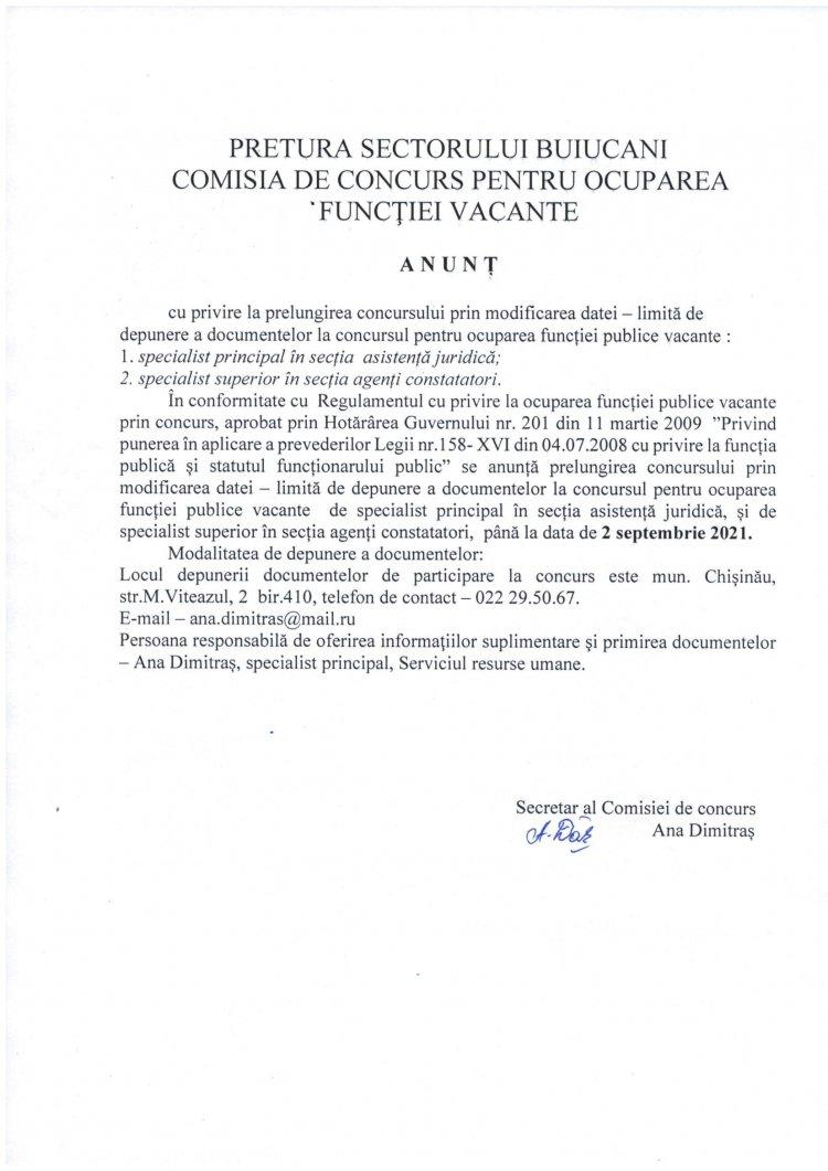 Anunț cu privire la prelungirea concursului pentru ocuparea a funcțiilor vacante