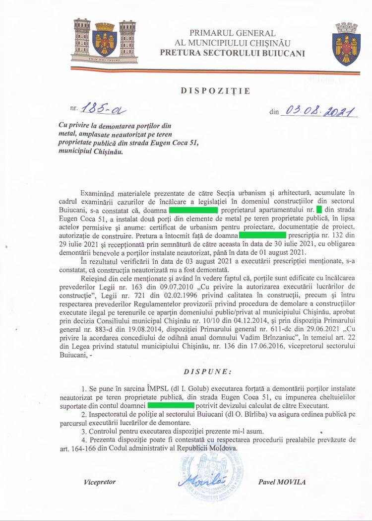 Dispoziție nr 185-d din 03.08.2021 cu privire la demontarea porților din metal, amplasate neautorizat pe teren proprietate publică din str. E. Coca, 51, mun. Chișinău