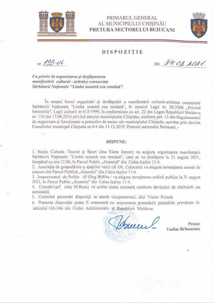 """Dispoziție nr 193-d din 24.08.2021 cu privire la organizarea și desfășurarea manifestării cultural-artistice consacrate Sărbătorii Naționale """"Limba noastră cea română"""""""