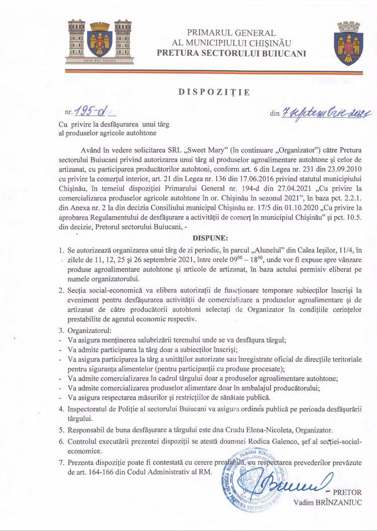 Dispoziție nr 195-d din 07.09.2021 cu privire la desfășurarea unui târg al produselor agricole autohtone