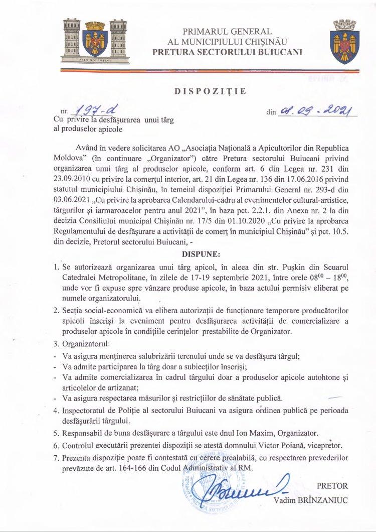 Dispoziție nr 197-d din 08.09.2021 cu privire la desfășurarea unui târg al produselor apicole