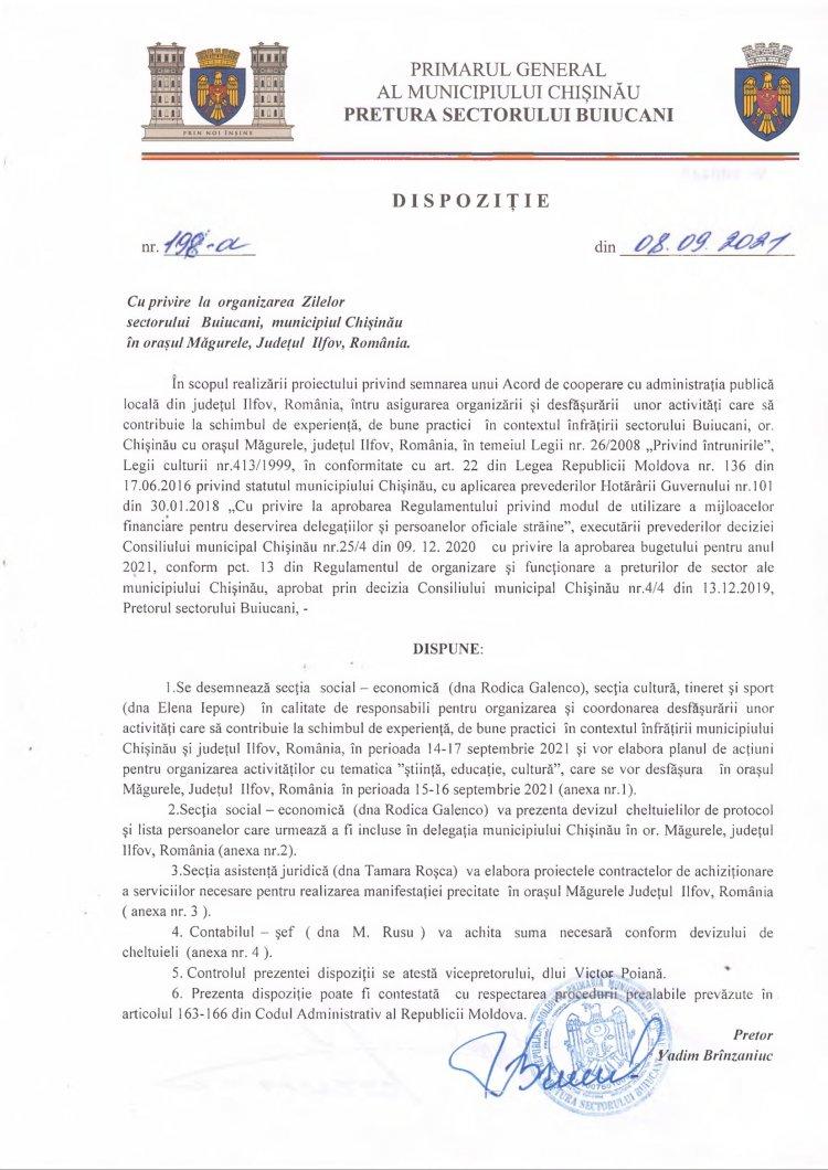 Dispoziție nr 198-d din 08.09.2021 cu privire la organizarea Zilelor sectorului Buiucani, municipiul Chișinău în orașul Măgurele, Județul Ilfov, România
