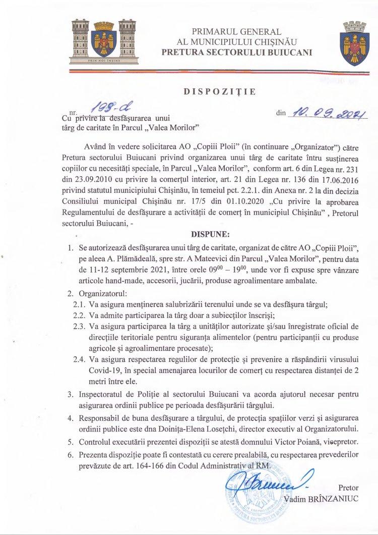 """Dispoziție nr 199-d din 10.09.2021 cu privire la desfășurarea unui târg de caritate în Parcul """"Valea Morilor"""""""