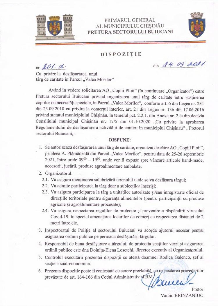 """Dispoziție nr 201-d din 24.09.2021 cu privire la desfășurarea unui târg de caritate în Parcul """"Valea Morilor"""""""