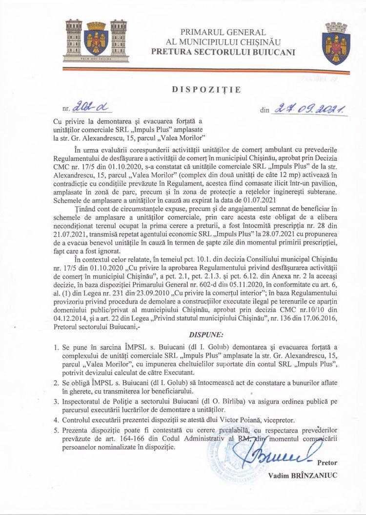 """Dispoziție nr 202-d din 27.09.2021 cu privire la demontarea și evacuarea forțată a unităților comerciale SRL """"Impuls Plus"""" amplasate la str. G. Alexandrescu, 15, parcul """"Valea Morilor"""""""