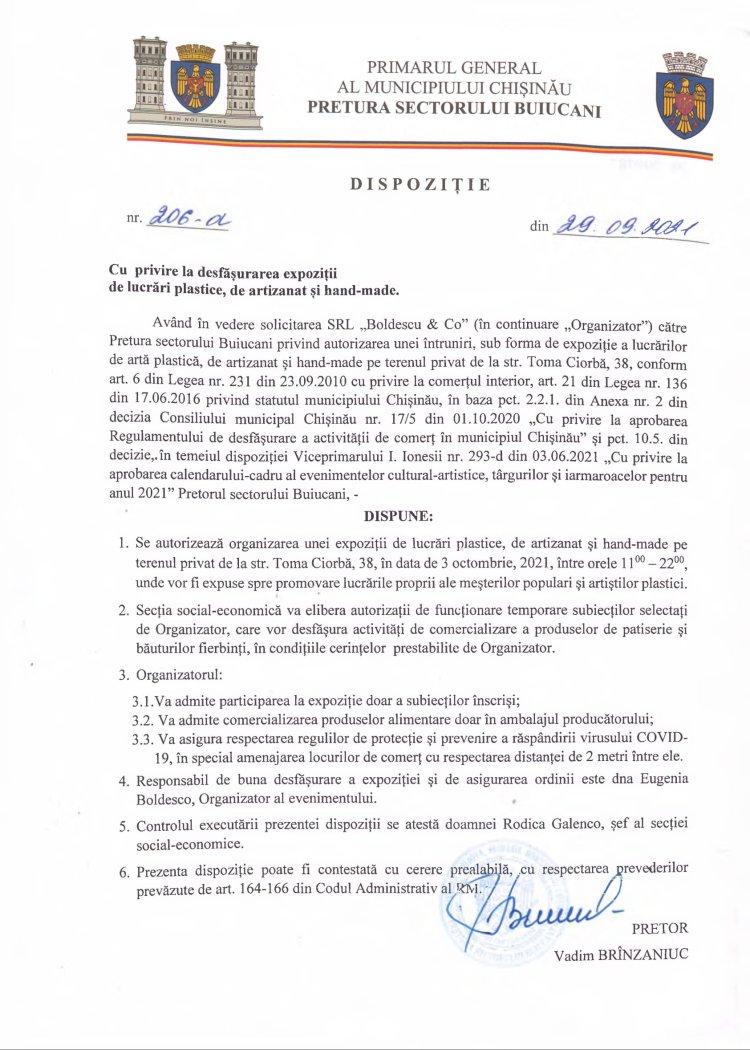 Dispoziție nr 206-d din 29.09.2021 cu privire la desfășurarea expoziții de lucrări plastice, de artizanat și hand-made.