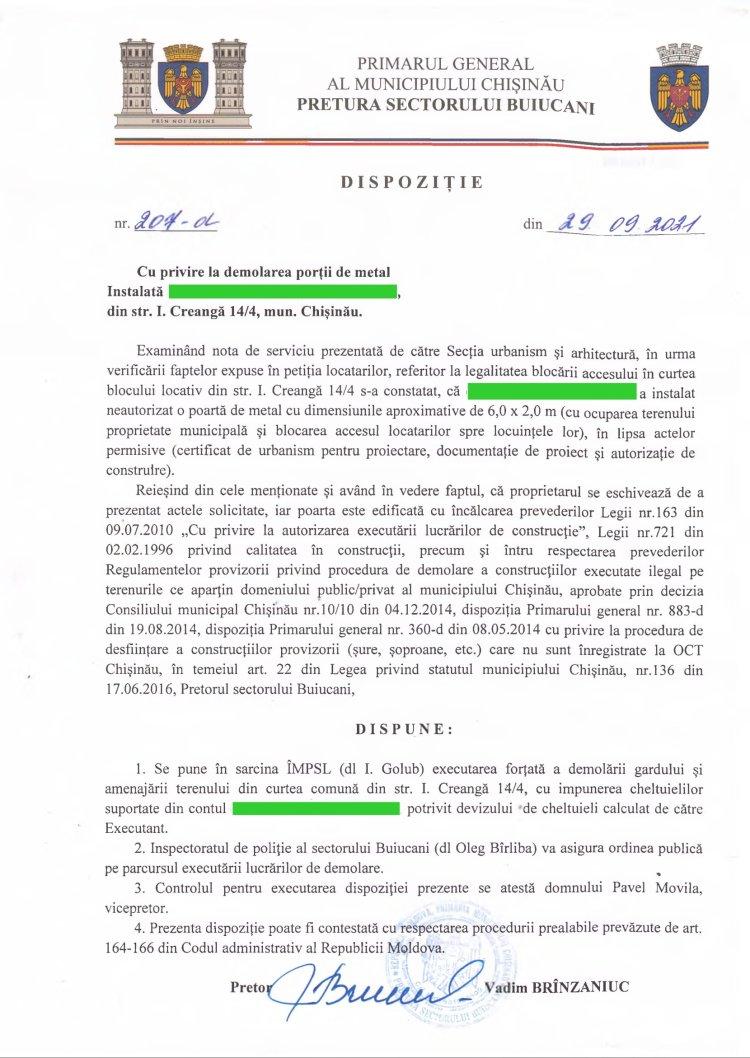 Dispoziție nr 207-d din 29.09.2021 cu privire la demolarea porții de metal din str. I. Creangă, 14/4, mun. Chișinău