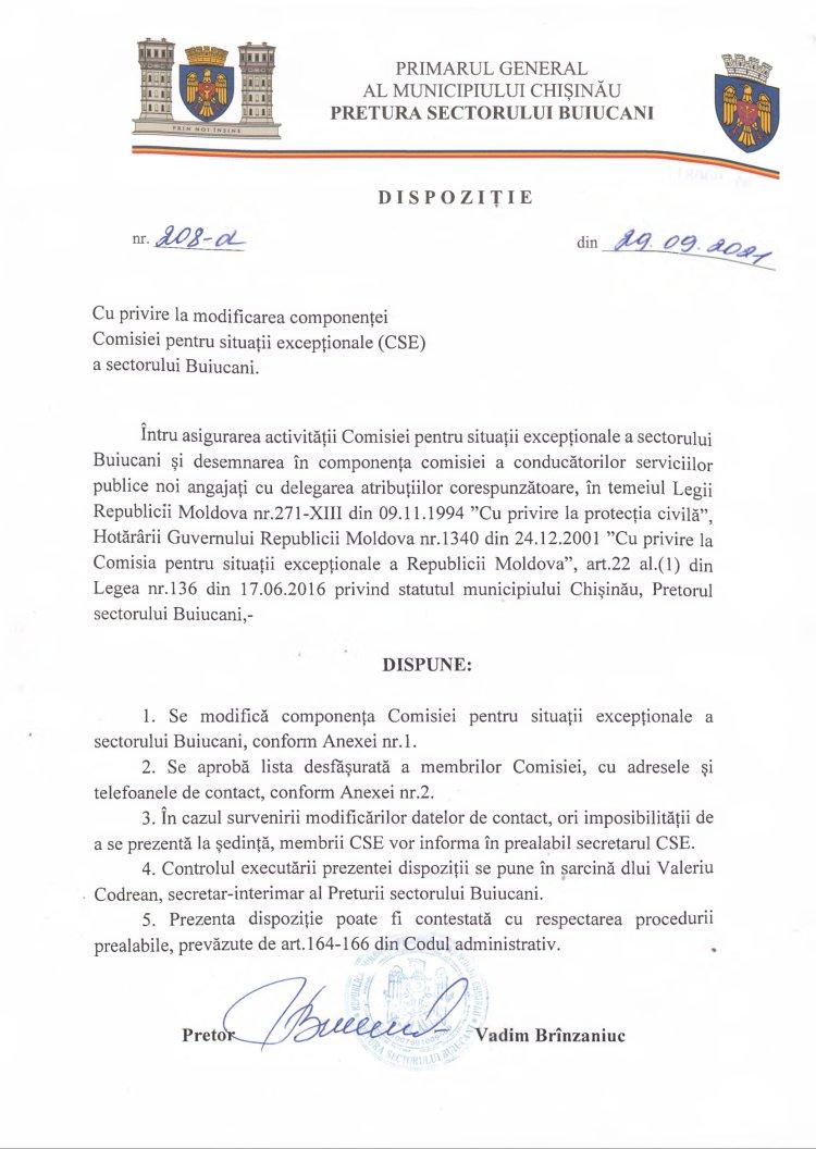 Dispoziței nr 208-d din 29.09.2021 cu privire la modificarea componenței Comisiei pentru situații excepționale (CSE) a sectorului Buiucani