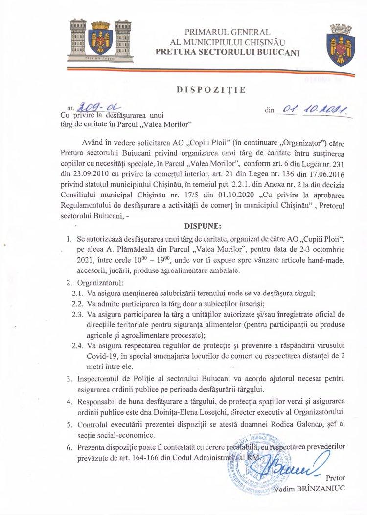 """Dipoziție nr 209-d din 01.10.2021 cu privire la desfășurarea unui târg de caritate în Parcul """"Valea Morilor"""""""