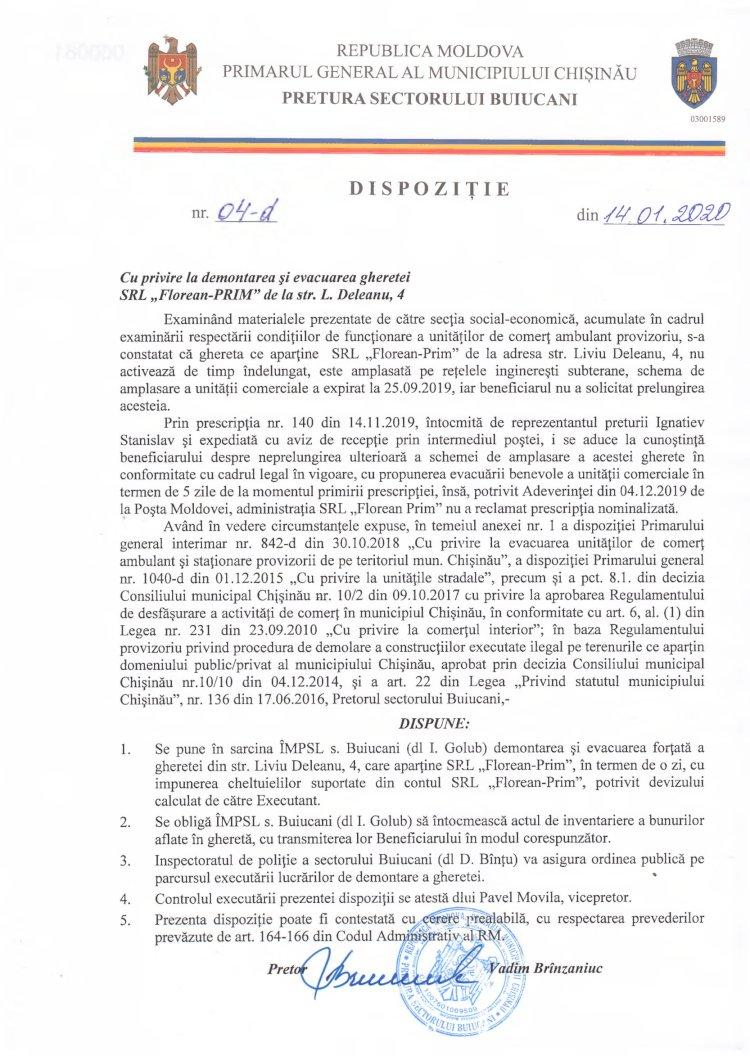 """Dispoziție nr 04-d din 14.01.2020 cu privire la demontarea și evacuarea gheretei SRL """"Florean-PRIM"""" de la str. L. Deleanu, 4"""