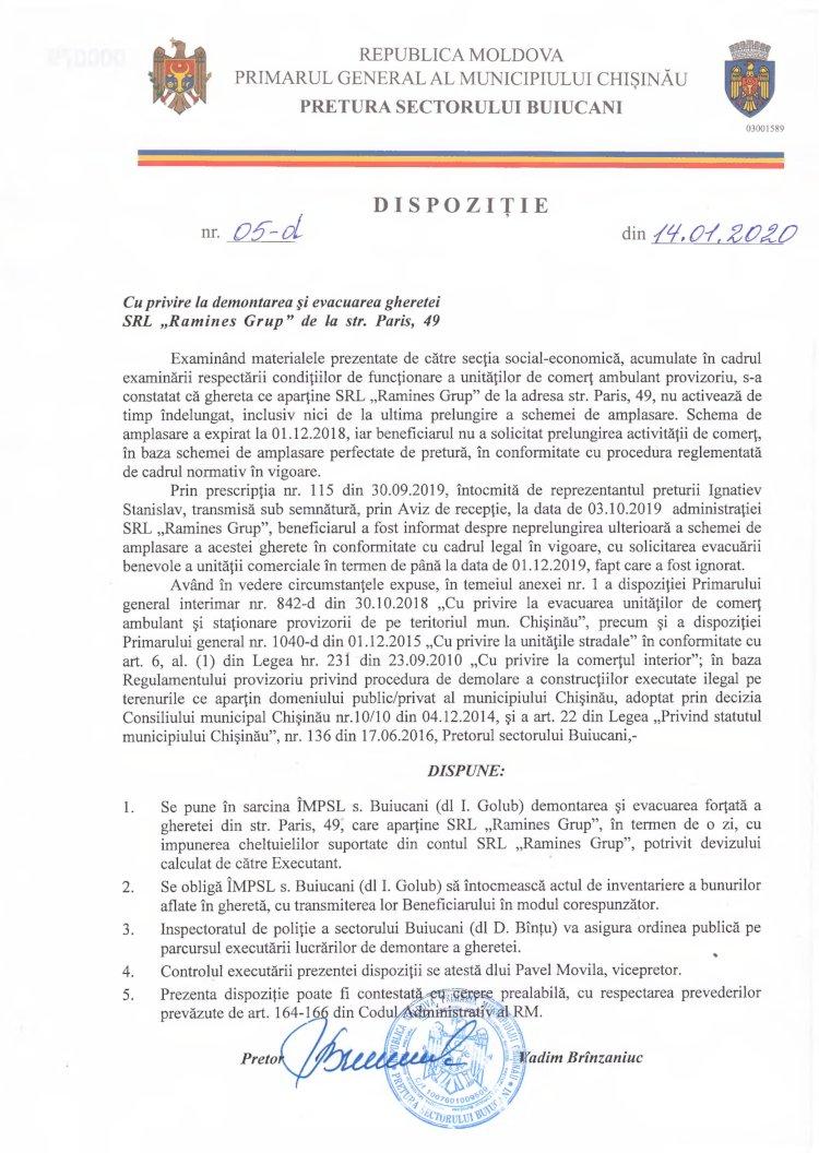 """Dispoziție 05-d din 14.01.2020 cu privire la demontarea și evacuare gheretei SRL """"Ramines Grup"""" de la str. Paris, 49"""