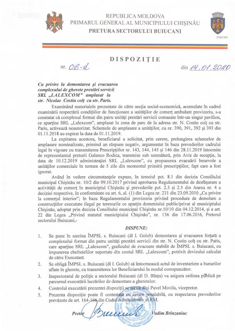 """Dispoziție nr 06-d din 14.01.2020 cu privire la demontarea și evacuarea complexului de gherete prestări servicii SRL """"LALEXCOM"""" amplasat la str. N. Costin colț cu str. Paris"""