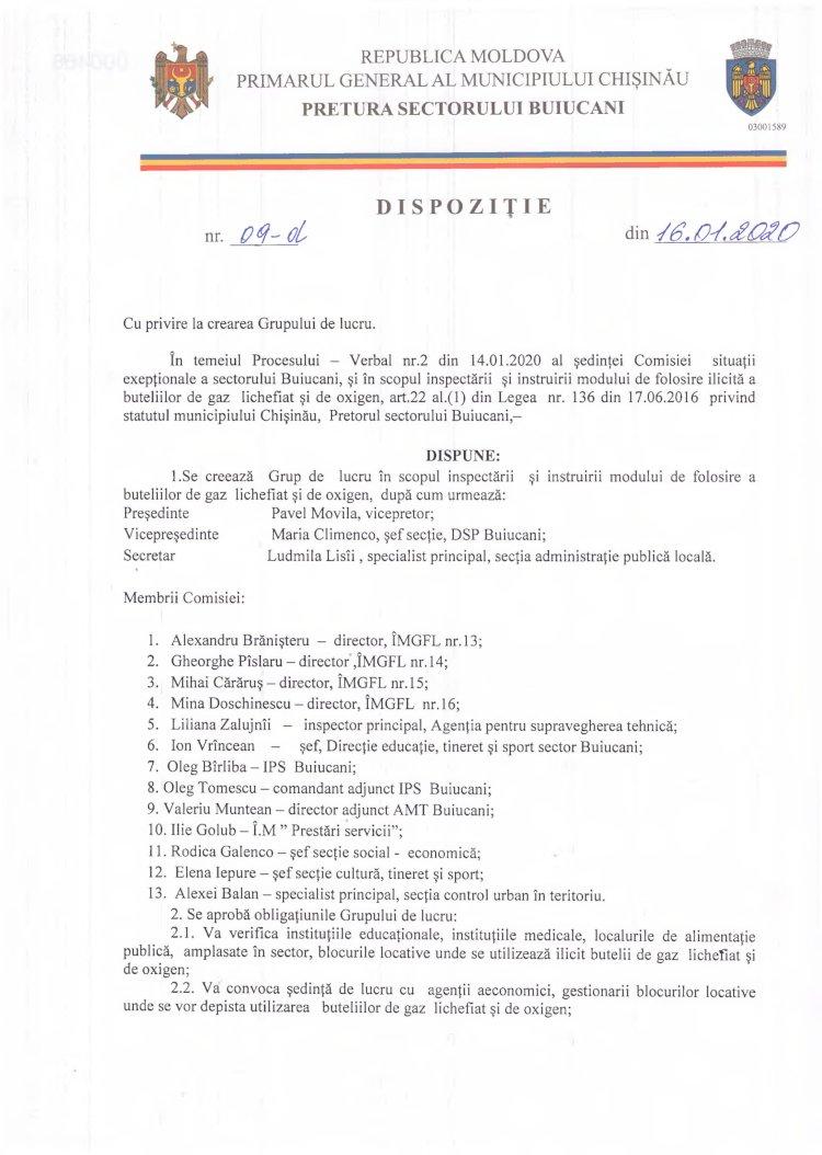 Dispoziție nr 09-d din 16.01.2020 cu privire la crearea Grupului de lucru