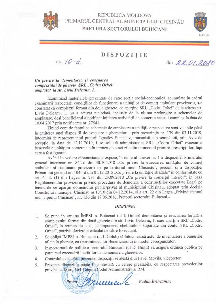 """Dispoziție nr 10-d din 22.01.2020 cu privire la demontarea și evacuarea complexului de gherete SRL """"Codru Orhei"""" amplasat la str. L. Deleanu, 1"""