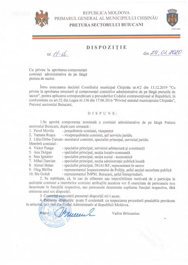 Dispoziție nr 11-d din 24.01.2020 cu privire la aprobarea componenței comisiei administrative de pe lângă pretura de sector