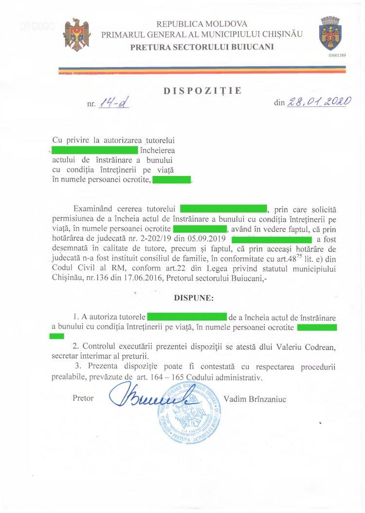 Dispoziție nr 14-d din 28.01.2020 cu privire la autorizarea tutorelui