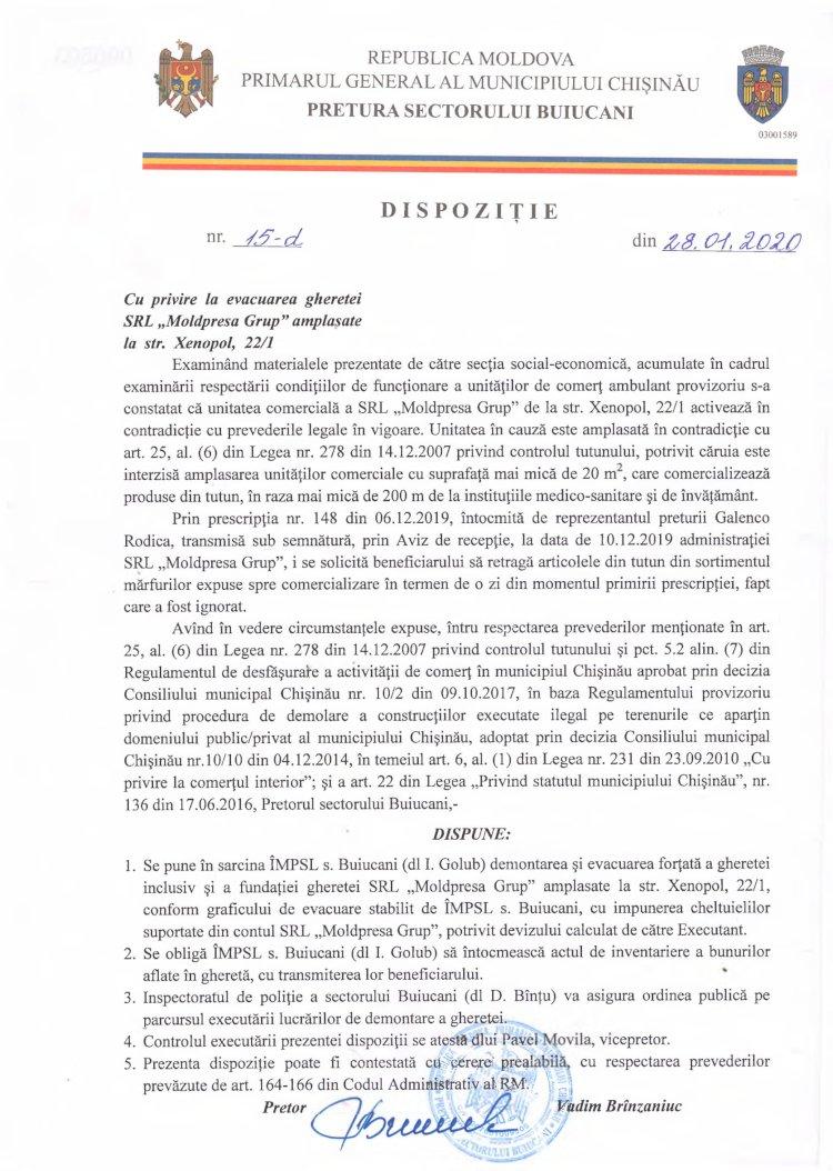 "Dispoziție nr 15-d din 28.01.2020 cu privire la evacuarea gheretei SRL ""Moldpresa Grup"" amplasate la str. Xenopol, 22/1"