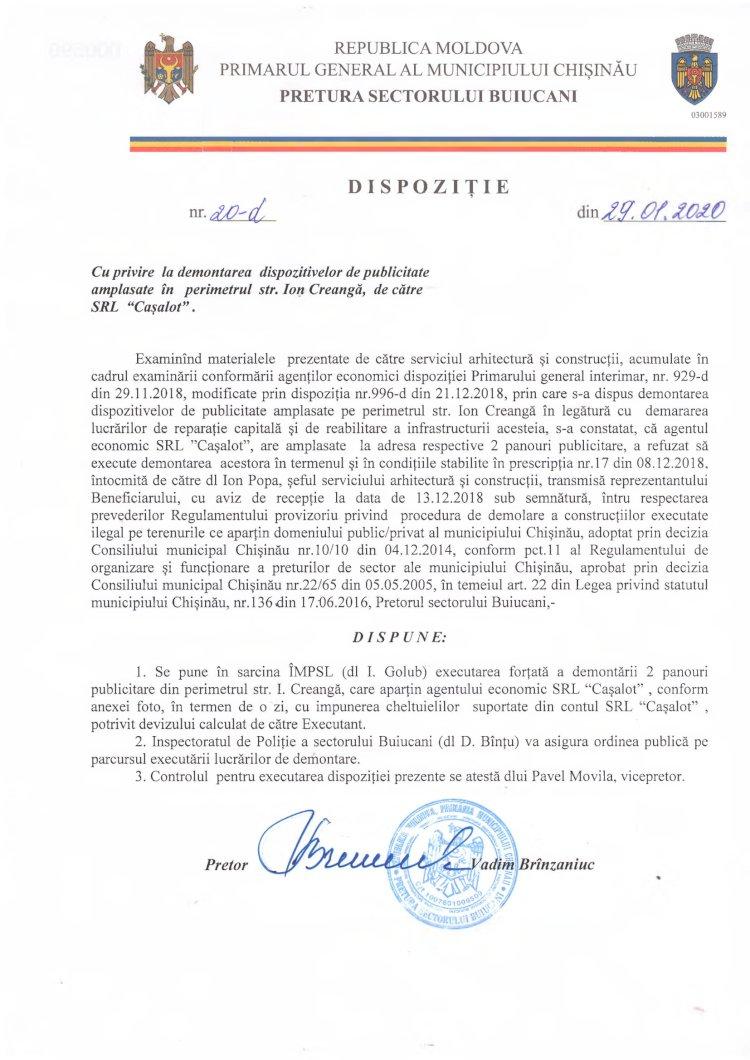 """Dispoziție 20-d din 29.01.2020 cu privire la demontarea dispozitivelor de publicitate amplasate în perimetrul str. I. Creangă, de către SRL """"Cașalot"""""""
