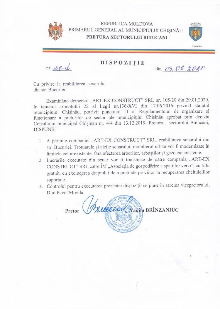 Dispoziție nr 22-d din 03.02.2020 cu privire la reabilitarea scuarului din str. Bucuriei