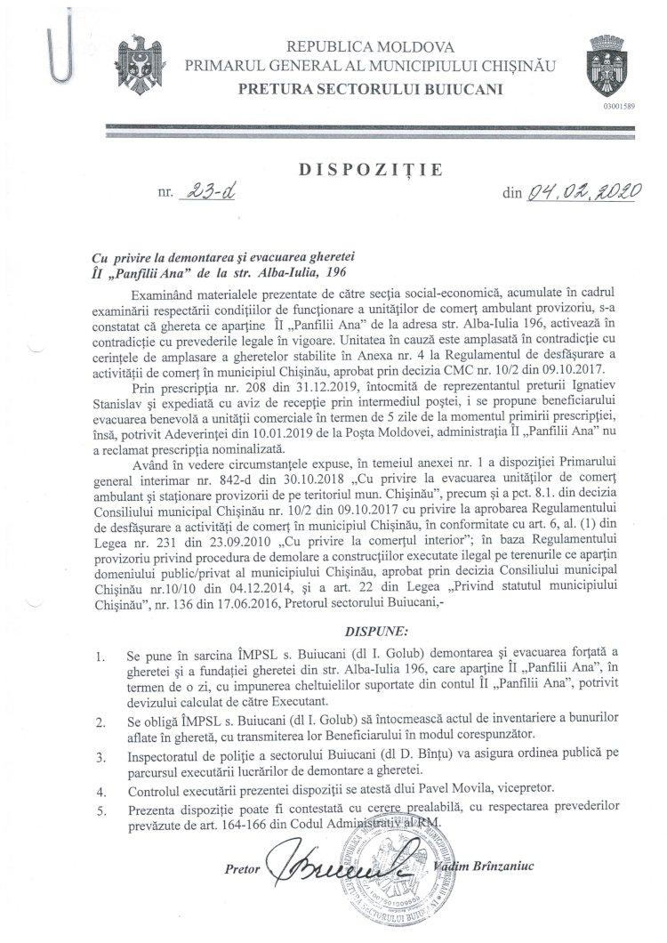 """Dispoziție nr 23-d din 04.02.2020 cu privire la demontarea și evacuarea gheretei ÎI """"Panfilii Ana"""" de la str. Alba-Iulia, 196"""
