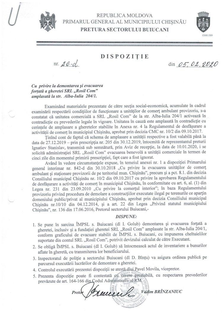"""Dispoziție nr 26-d din 05.02.2020 cu privire la demontarea și evacuarea forțată a gheretei SRL """"Rosil Com"""" amplasată la str. Alba-Iulia 204/1"""