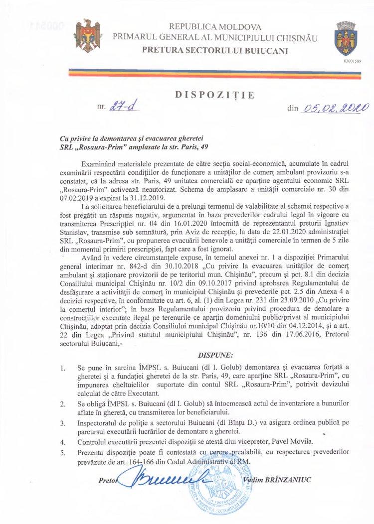 """Dispoziție nr 27-d din 05.02.2020 cu privire la demontarea și evacuarea gheretei SRL """"Rosaura-Prim"""" amplasate la str. Paris, 49"""