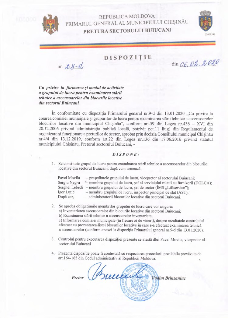 Dipoziție nr 28-d din 06.02.2020 cu privire la formarea și modul de activitate a grupului de lucru pentru examinarea stării tehnice a ascensoarelor din blocurile locative din sectorul Buiucani