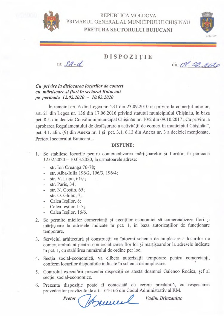 Dispoziție nr 32-d din 07.02.2020 cu privire la dislocarea locurilor de comerț cu mărțișoare și flori în sectorul Buiucani pe perioada 12.02.2020-10.03.2020