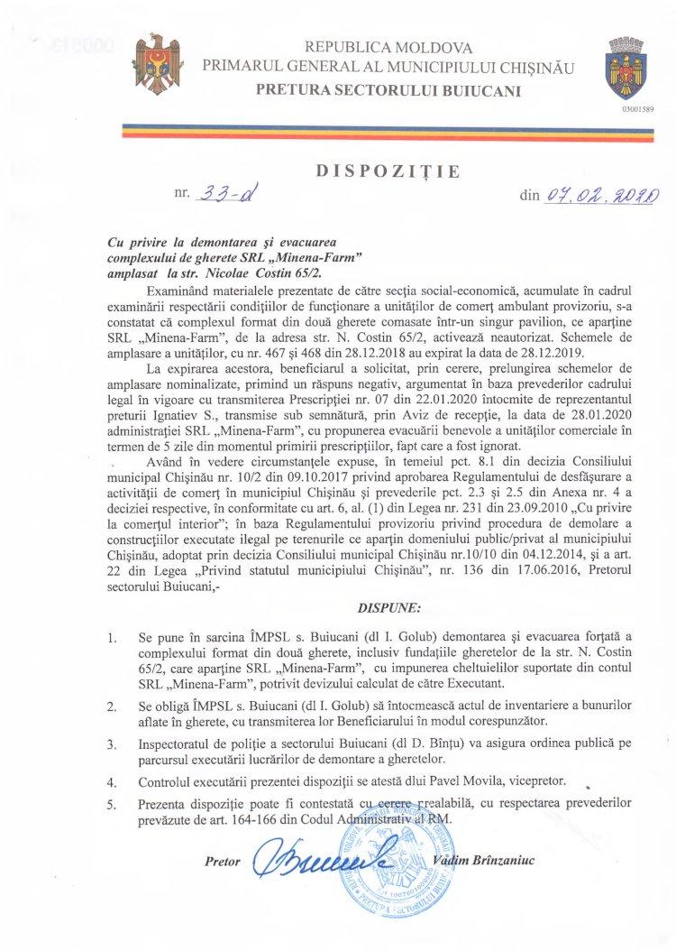 """Dispoziție nr 33-d din 07.02.2020 cu privire la demontarea și evacuarea complexului de gherete SRL """"Minena-Farm"""" amplasat la str. N. Costin 65/2"""