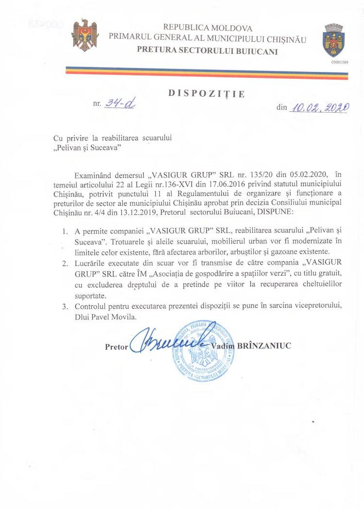 """Dispoziție nr 34-d din 10.02.2020 cu privire la reabilitarea scuarului """"Pelivan și Suceava"""""""