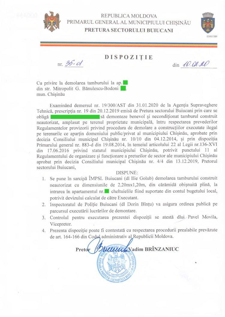 Dispoziție nr 35-d din 10.02.2020 cu privire la demolarea tamburului din str. Mitropolit G. Bănulescu - Bodoni, mun. Chișinău