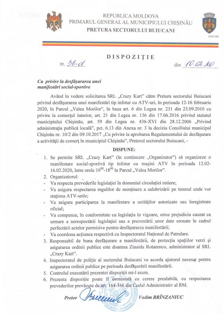 Dispoziție nr 36-d din 10.02.2020 cu privire la desfășurarea unei manifestări social-sportive