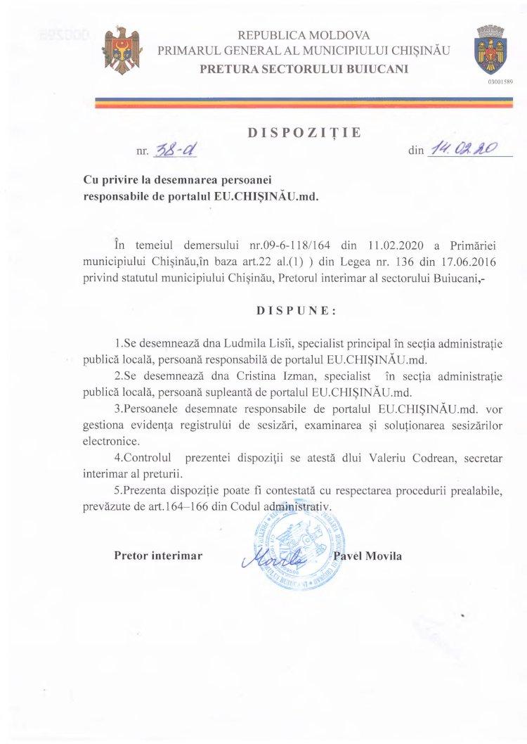 Dispoziție nr 38-d din 14.02.2020 cu privire la desemnarea persoanei responsabile de portalul EU.CHIȘINĂU.md