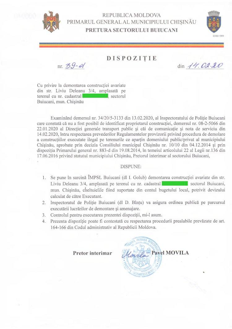 Dispoziție nr 39-d din 14.02.2020 cu privire la demontarea construcției avariate din str. L. Deleanu 3/4