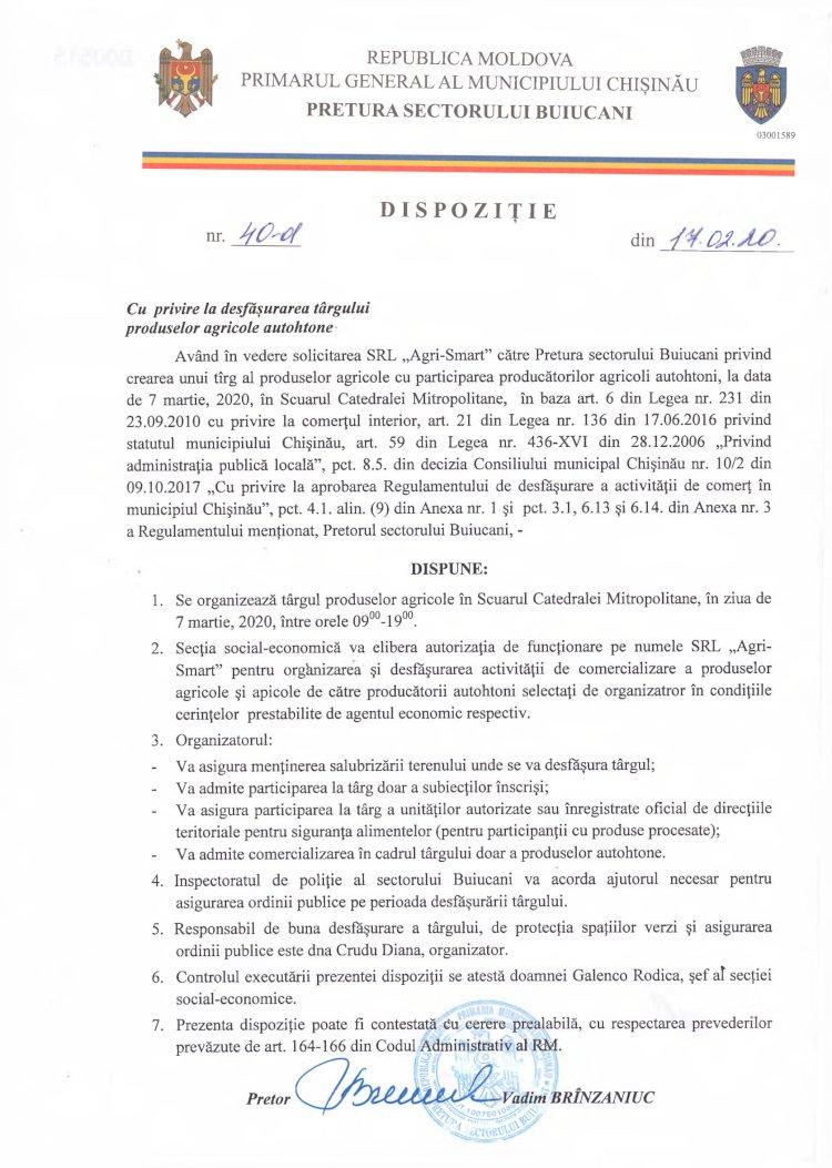 Dispoziție nr 40-d din 17.02.2020 cu privire la desfășurarea târgului produselor agricole autohtone