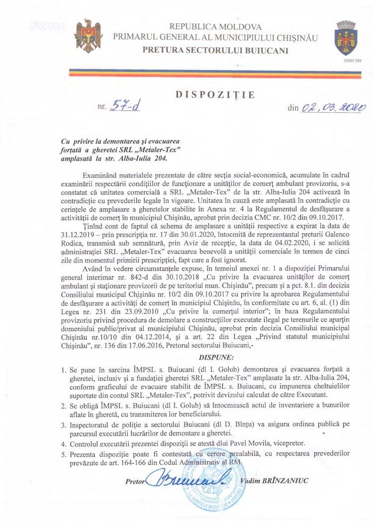 """Dispoziție nr 57-d din 02.03.2020 cu privire la demontarea și evacuarea forțată a gheretei SRL """"Metaler – Tex"""" amplasata la str. Alba-Iulia, 204"""