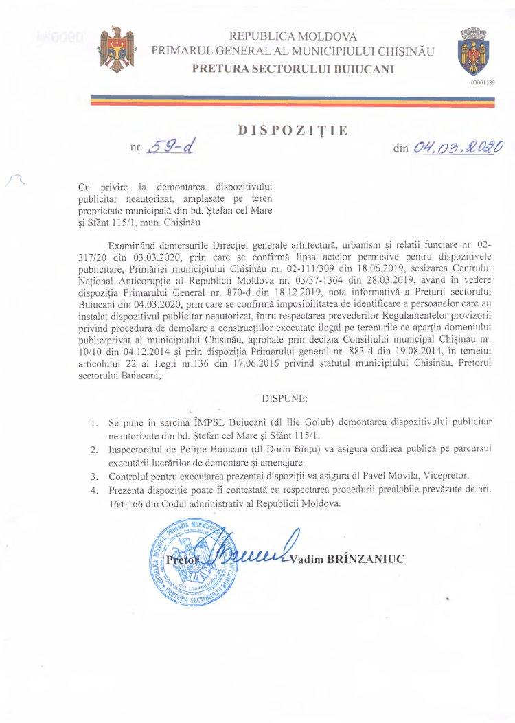 Dispoziție nr 59-d din 04.03.2020 cu privire la demontarea dispozitivului publicitar neautorizat, amplasat pe teren proprietate municipală din bd. Ștefan cel Mare și Sfânt 115/1, mun. Chișinău