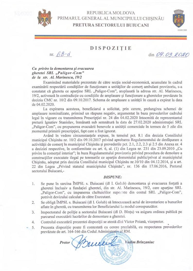 """Dispoziție nr 68-d din 09.03.2020 cu privire la demontarea și evacuarea gheretei SRL """"Paligor-Com"""" de la str. A. Marinescu, 19/2"""